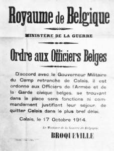Appel de Calais fait par le ministre de la Guerre