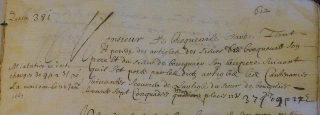 Extrait du cadastre où l'on voit les terres apportée par jacquette de Bousquier, en dot, à Monsieur de Broqueville.
