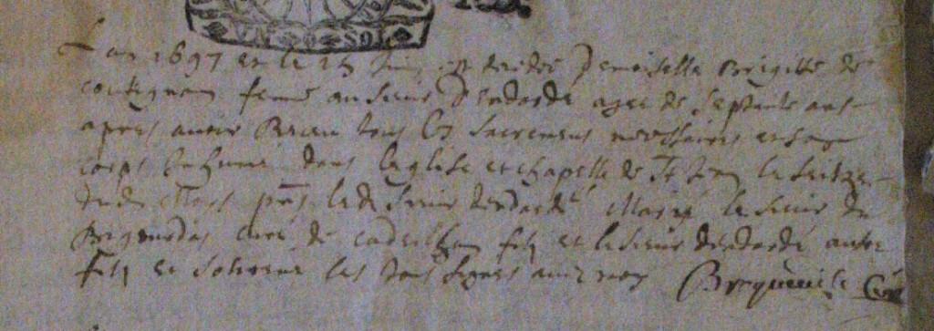 Acte de décès de Brigitte de Cotignon.