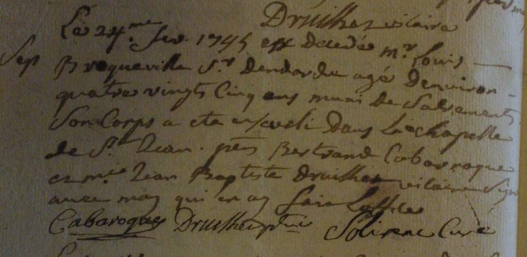 24 février 1745 - Acte de décès de Louis Broqueville, sieur d'Endardé.