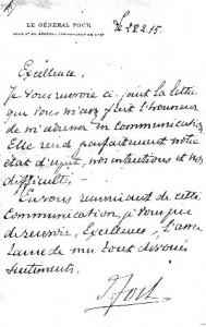 Lettre de Foch