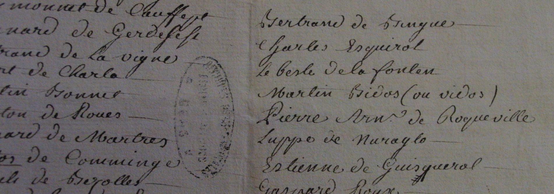 première copie de la montre conservée aux archives départementales du Gers à Auch