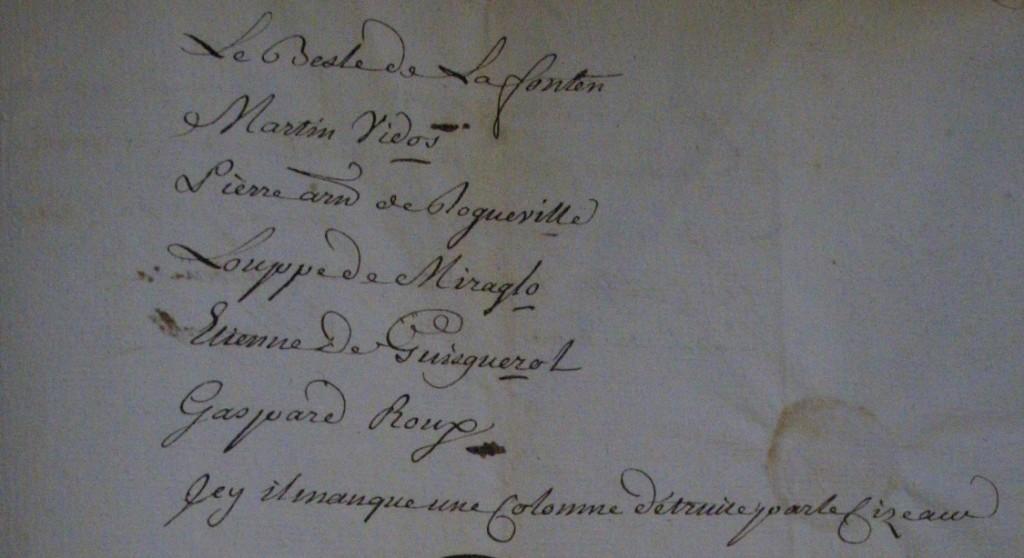 Deuxième copie de la montre conservée aux archives départementales du Gers à Auch