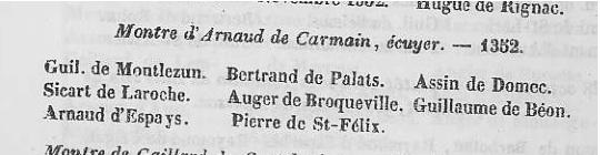 Extrait du livre de Monlezun, tome VI, page 138.