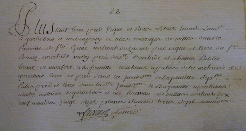 Extrait du cadastre des terres de Monfort de 1766-1774