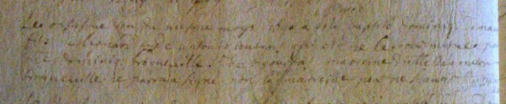 Texte difficilement lisible où l'on voit Dominique sieur de Bigourdas (ref : 4234)