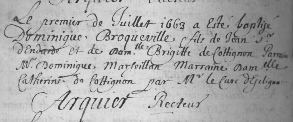 Acte de baptême de Dominique fils de Jean et de Brigitte de Cotignon. (ref : 1215)