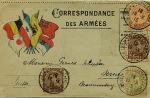 Timbres belges avec cachet français de sainte-Adresse sur une carte postale de l'armée.