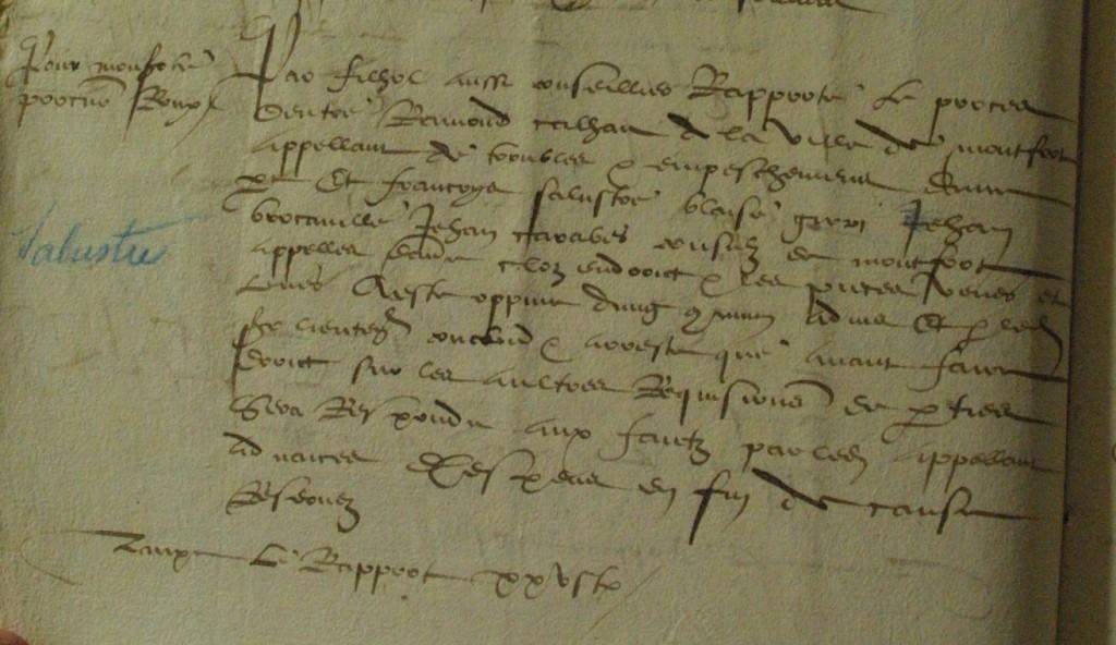 Acte de la Sénéchaussée de Lectoure en 1551