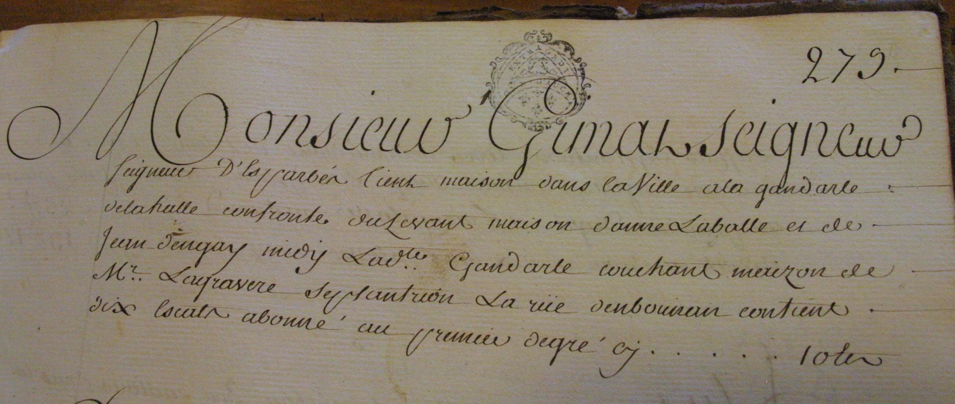 Monsieur Gimat, seigneur d'Esparbès.