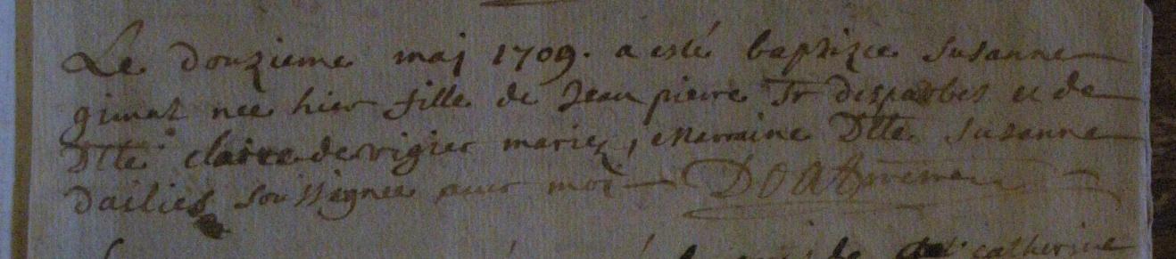 Acte de naissance de Suzanne Gimat d'Esparbès