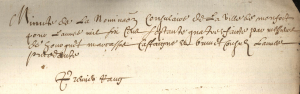Minute de la nomination consulaire en 1674.