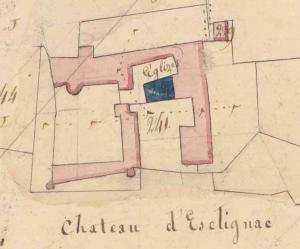Plan Napoléonien montrant l'église d'Esclignac