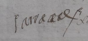 Une des signatures de Jean-Jacques de Malac, sieur de Sarracave