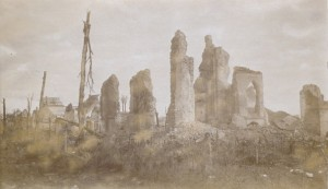 Les ruines de Dixmude en 1917.