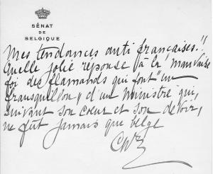 Note de Charles de Broqueville intercalée page 440 d'un recueil.