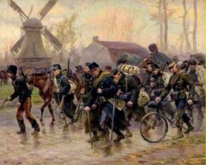 Retraite de l'armée belge d'Anvers peint par Alphonse Lalauze (1872-1936)