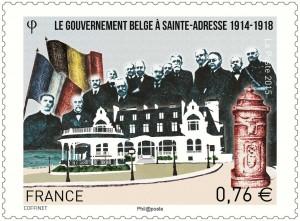 Le gouvernement belge sur le perron de la villa Roxane.