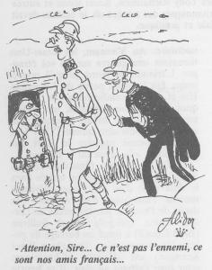 Caricature parue dans Père Ubu le 14/06/1999 montrant le Roi Albert et Broqueville dans les tranchées.