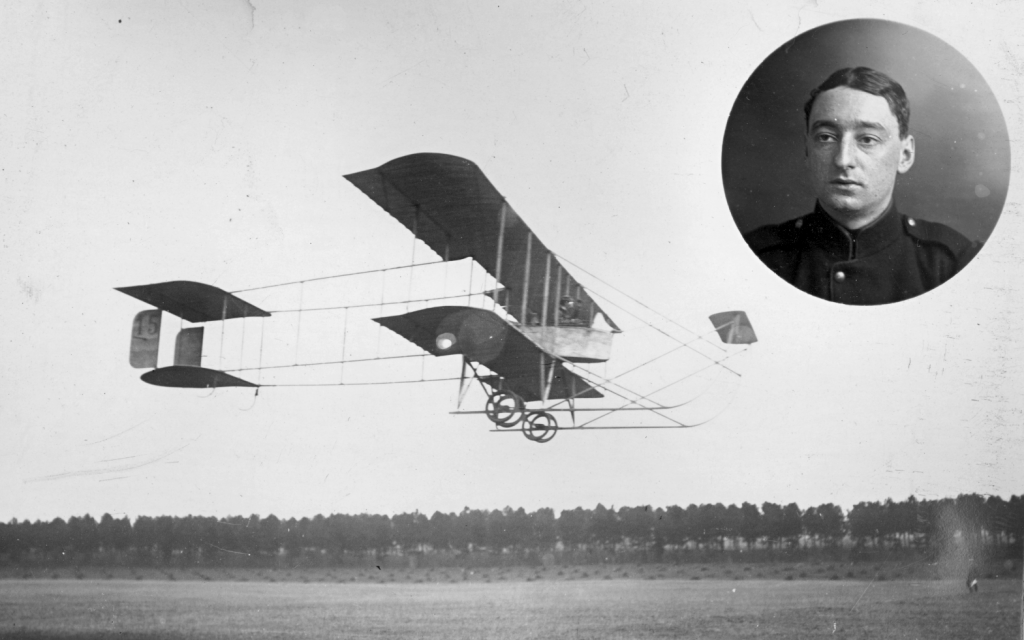 Farman iV d'instruction utilisé pour le premier vol de Jacques de Broqueville.