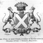 Les armoiries des Broqueville français de 1857 « D'azur au sautoir d'argent, accompagné en chef d'une molette d'or »
